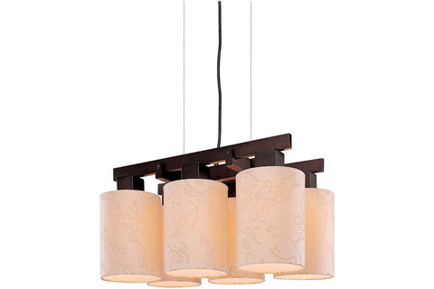George Kovacs P8086-615 Kimono 1 Tier Chandelier Lighting in Antique Dorian Bronze with Beige Silk