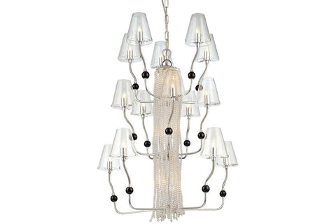 George Kovacs P879-077 Large Glass 3 Tier Chandelier Lighting in Chrome with Clear Glass