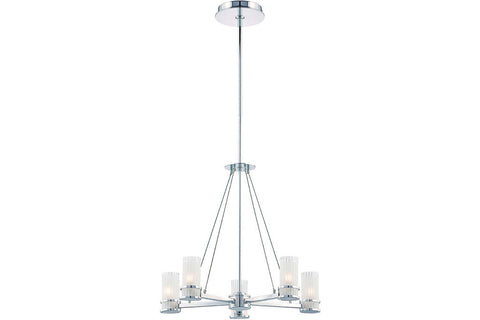 George Kovacs P915-077 Rings Large Glass 1 Tier Chandelier Lighting in Chrome with Frosted Glass with Clear Edge