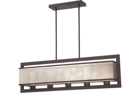 George Kovacs P926-684 Mainly Mesh Glass 1 Tier Chandelier Light in Bronze with Brushed Nickel with Brushed Nickel Mesh with Etched Opal Glass
