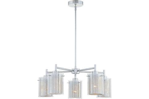 George Kovacs P965-077 Grid II Large Glass 1 Tier Chandelier Lighting in Chrome with Clear Glass with Chrome Mesh