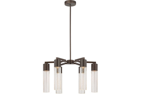 George Kovacs P975-647 Light Rain Glass Chandelier Light in Copper Bronze Patina with Clear Seeded Glass