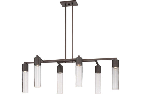 George Kovacs P976-647 Light Rain Glass Chandelier Light in Copper Bronze Patina with Clear Seeded Glass
