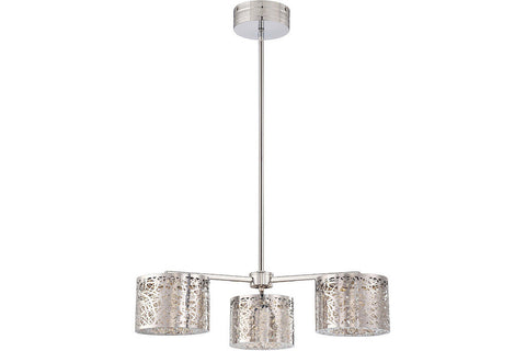 George Kovacs P983-077-L Hidden Gems Large 1 Tier Chandelier Lighting in Chrome with Laser-Cut Chrome Shade