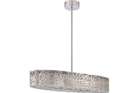 George Kovacs P987-077-L Hidden Gems Crystal 1 Tier Chandelier Lighting in Chrome with Laser-Cut Chrome Shade