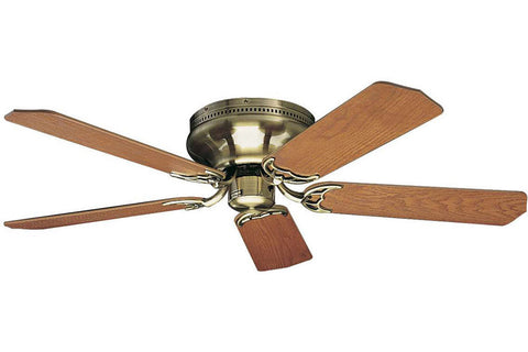 "Craftmade PFC52AB 52"" Contemporary Flushmount Ceiling Fan in Antique Brass"