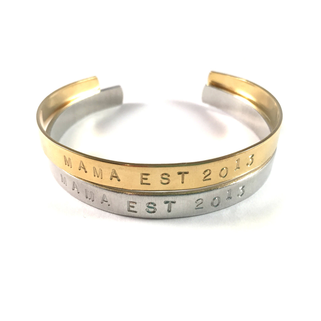 Hand Stamped Skinny Cuff | Established When