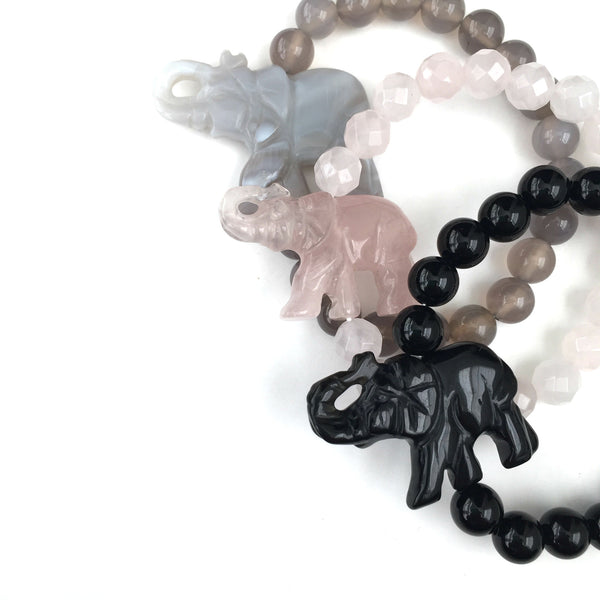 Carved Gemstone Elephant Bracelet