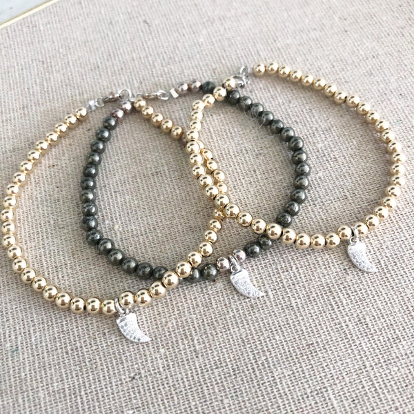 Micro Pave Horn Bracelet | Gold Filled or Pyrite