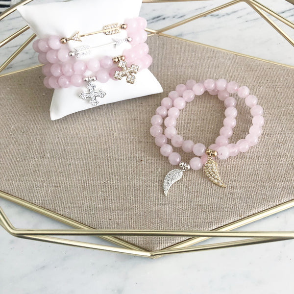 Pave Charm Bracelet | Rose Quartz in Sterling or Gold Vermeil