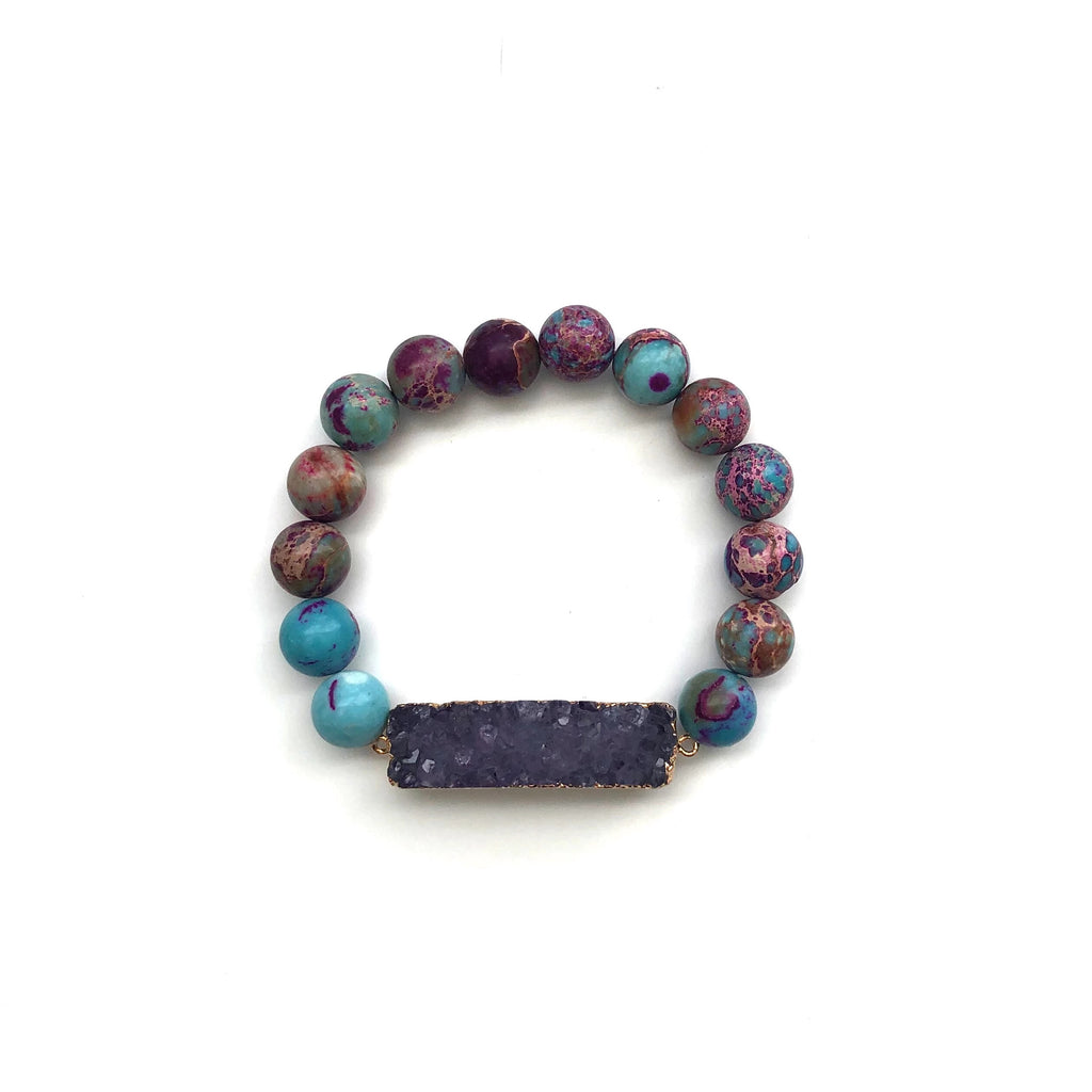 Druzy Cluster Bar Bracelet | Sea Sediment Jasper