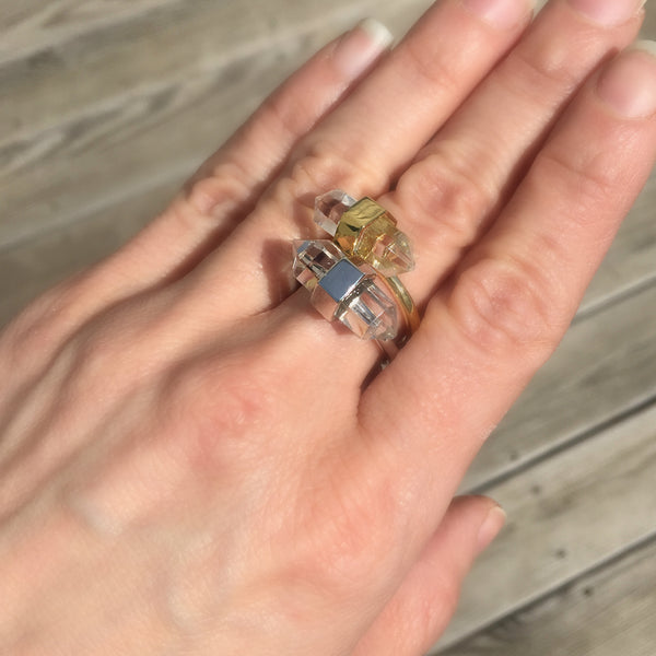 Double Terminated Clear Quartz Ring
