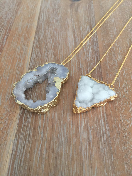 "Druzy Triangle Necklace | 32"" Long"