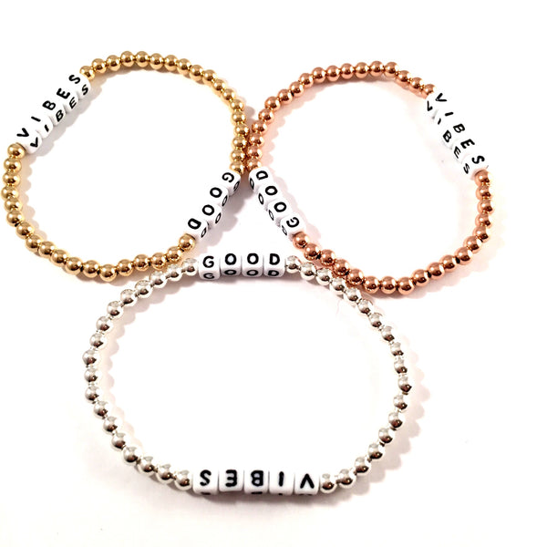 Dice GOOD VIBES Bracelet | Gold Filled, Rose Gold Filled or Sterling