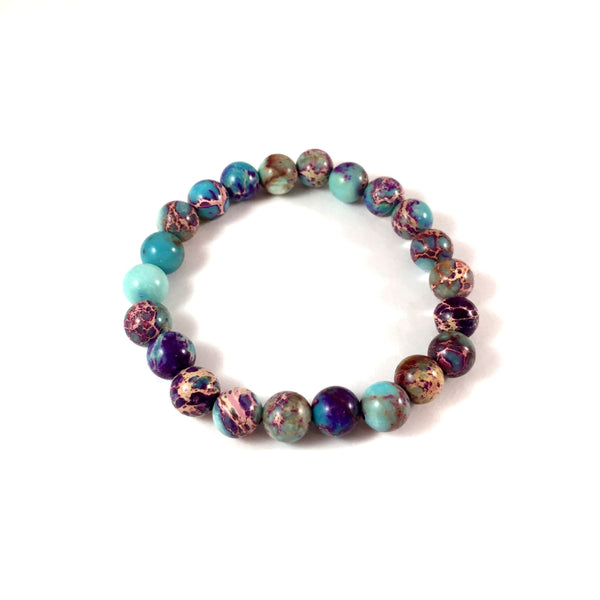 Jasper | Sea Sediment in Aqua + Purple | 8mm