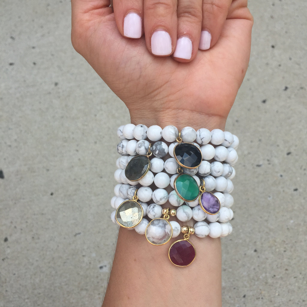 Gemstone Drop Bracelet | Howlite or Wood