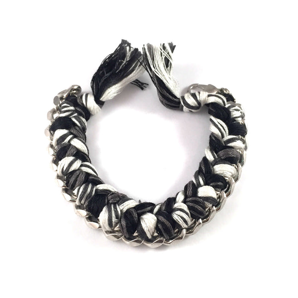 SALE | Braided String + Chain Cuff Bracelet | Silver + Black