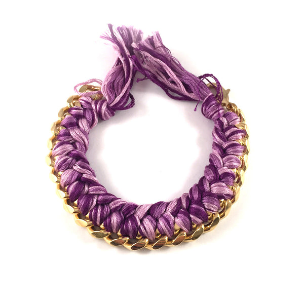 SALE | Braided String + Chain Cuff Bracelet | Gold + Purple
