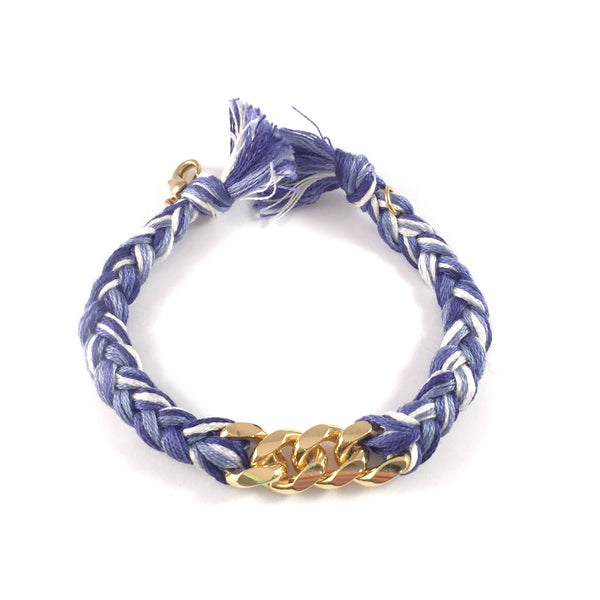 SALE | Braided String + Chain Bracelet | Gold + Blue