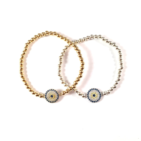 Gold Filled or Sterling Beaded Pave Lucky Eye II Bracelet