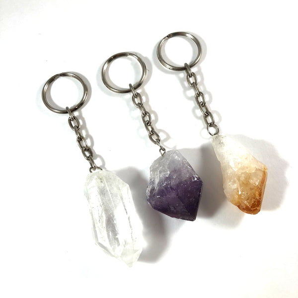Gemstone Keychain | Clear Quartz Point