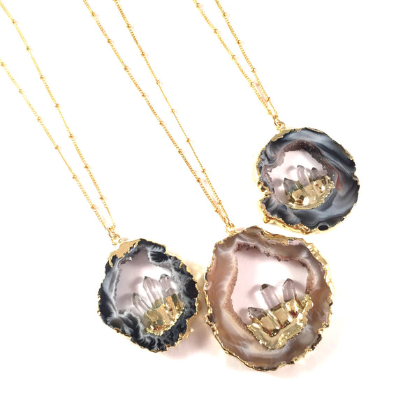 Druzy Geode Slice Necklace with Three Quartz Points