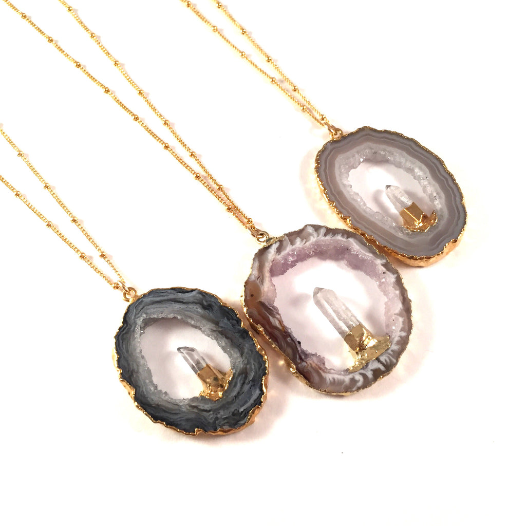 Druzy Geode Slice Necklace with One Quartz Point