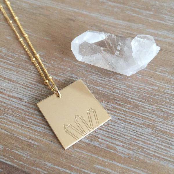 Crystal Point Square Necklace | Gold or Silver