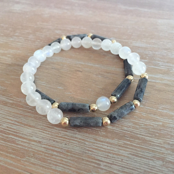 LIMITED EDITION Larvikite + Rainbow Moonstone Stack