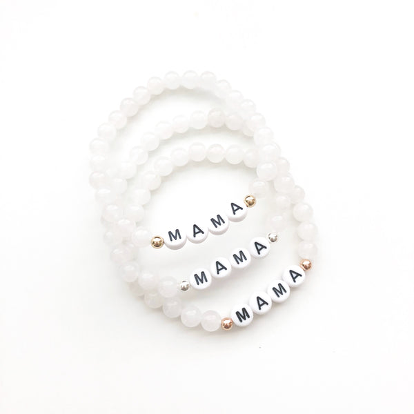 Mama Bracelet | White Jade | You Choose Metal
