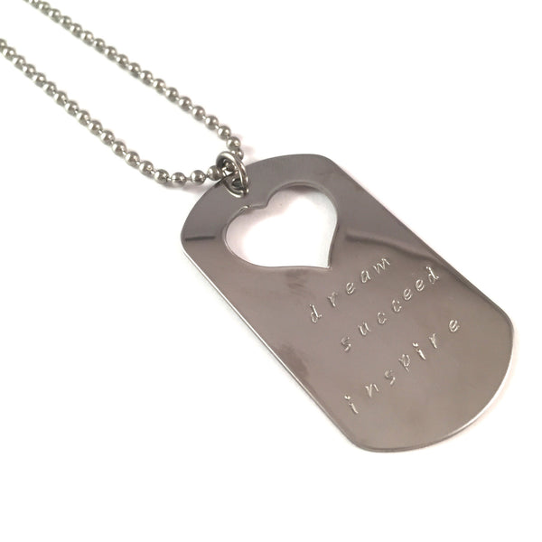 Dream. Succeed. Inspire. Dog Tag Necklace