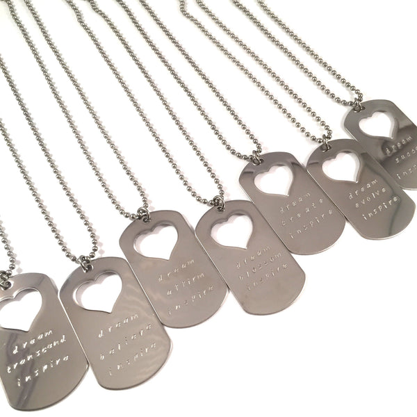 Dream. Believe. Inspire. Dog Tag Necklace