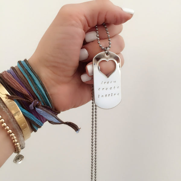 Dream. Blossom. Inspire. Dog Tag Necklace