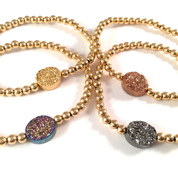 Gold Filled Titanium Coated Druzy Bracelet