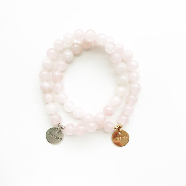 Blessed Hand Stamped Bracelet | Rose Quartz