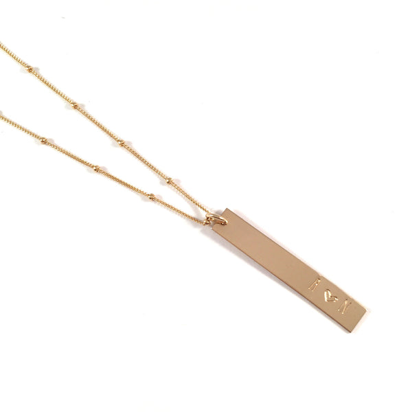 Custom | Bar Necklace | Vertical Gold or Silver
