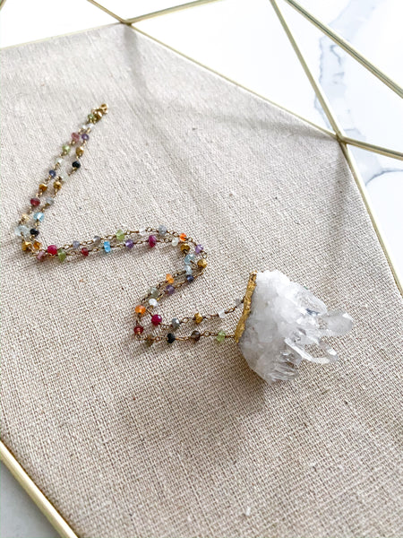 Rosary Chain + Clear Quartz Cluster Necklace | Rainbow