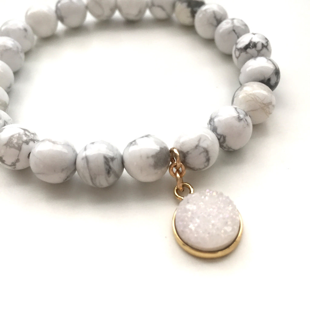 Druzy Circle Bracelet in Snow White