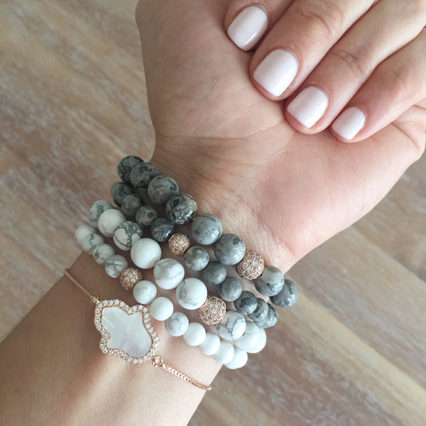 A Twinkle Stack | Howlite in Gold, Rose Gold, Silver