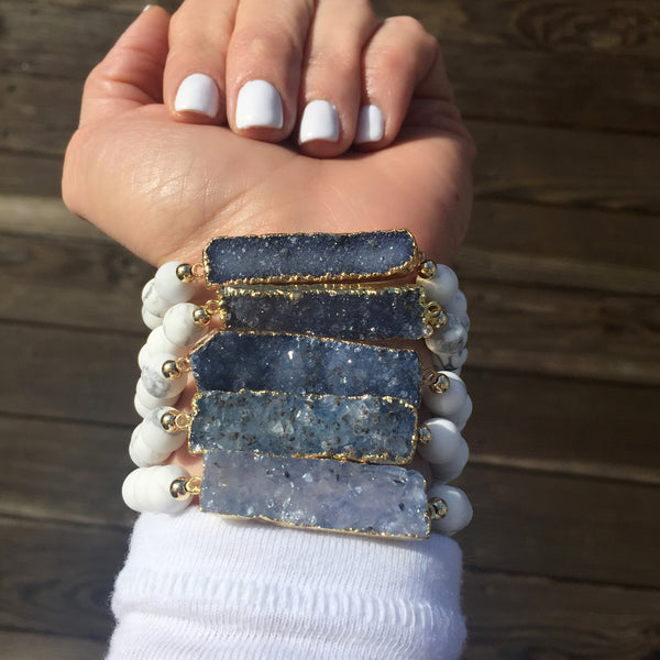 Druzy Bar Bracelet | Blues
