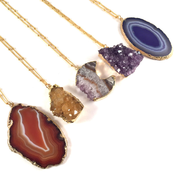 Agate Slice Necklace | Amber