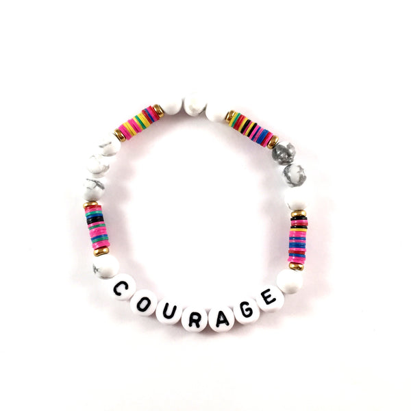 African Vinyl Say It Bracelet | Rainbow with Howlite + White Beads
