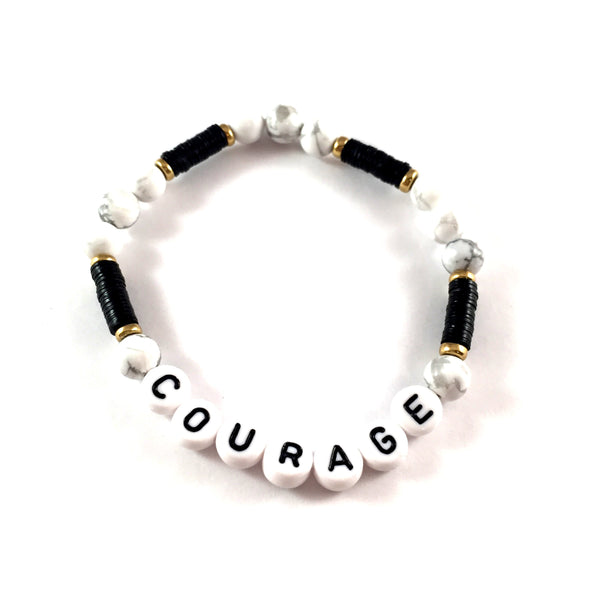 African Vinyl Say It Bracelet | Black with Howlite + White Beads