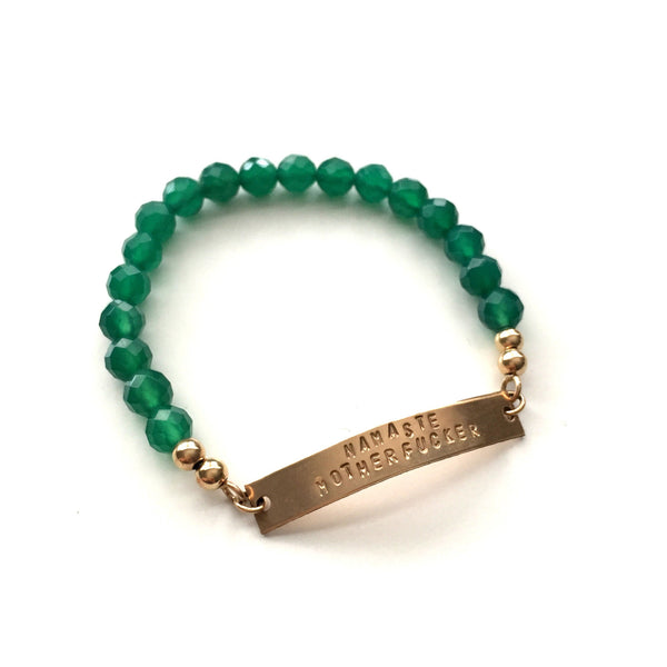 Namaste MF'er Gold Bar Bracelet in Green Agate