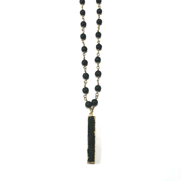 Lava Rosary Style Diffuser Necklace | Druzy Bar