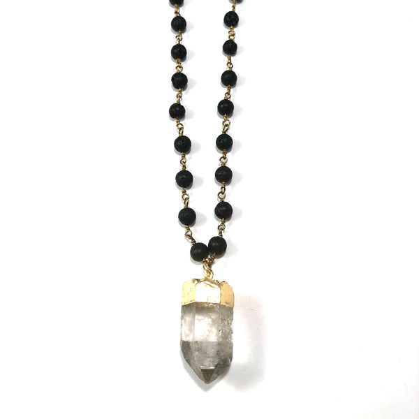 Lava Rosary Style Diffuser Necklace | Healing Quartz