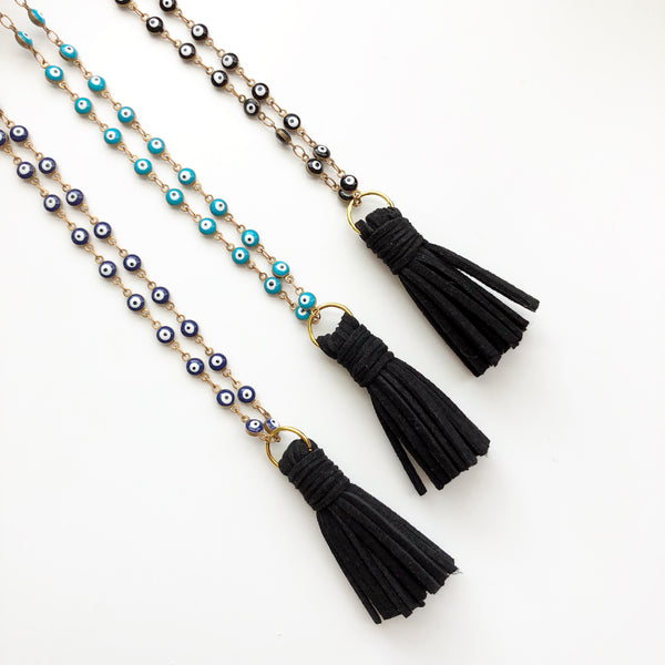 Lucky Eye Tassel Diffuser Necklace | Black, Blue or Gold