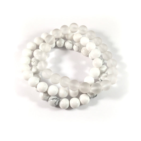 MIDI Stack | Neutral | Howlite, White Jade + Matte Quartz