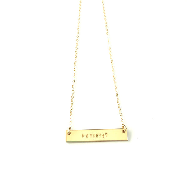 Gold Bar Necklace | Hand Stamped Manifest
