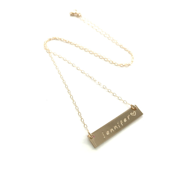 Gold Bar Necklace | Hand Stamped Word or Name